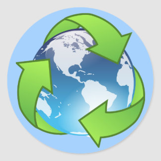 Crystal earth globe recycle icon classic round sticker