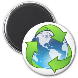Crystal earth globe recycle icon 6 cm round magnet