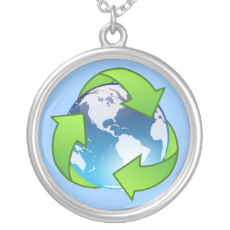 Crystal earth globe recycle icon custom necklace