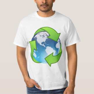 Crystal earth globe recycle icon t shirts