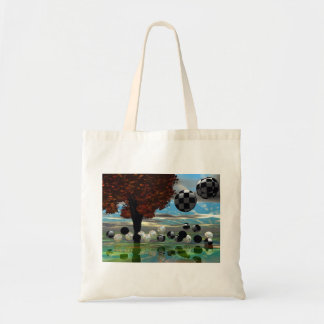 Crystal Garden, Abstract Green Gold Light Budget Tote Bag