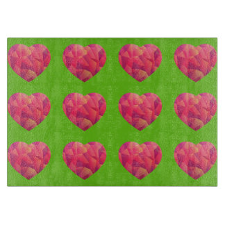 Crystal Geo Heart Custom Template with color back Cutting Board
