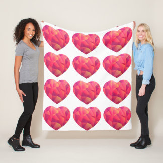 Crystal Geo Sunset heart comfy Fleece Blanket