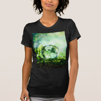 Crystal globe in a green forest tee shirt