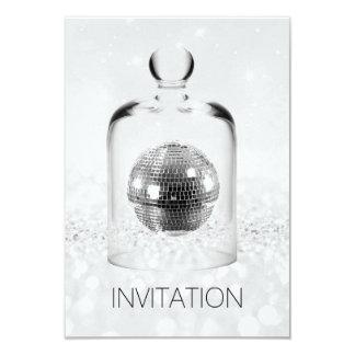Crystal Globe Night Club Party Silver Gray Glitter Card