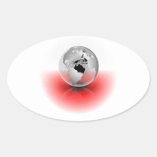 Crystal Globe Oval Sticker