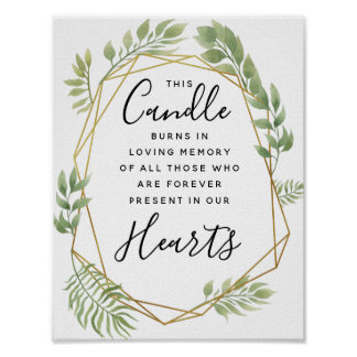 Crystal green  leaf Memory candle sign wedding