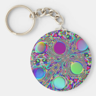 Crystal Groovy Polka Dots Basic Round Button Key Ring