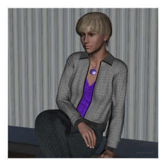 Crystal in Gray Waiting Portrait Art Poster