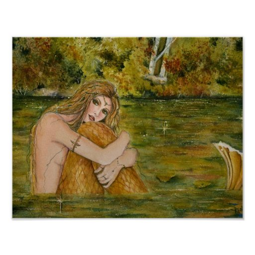 Crystal Lake Mermaid Poster By Renee L. Lavoie