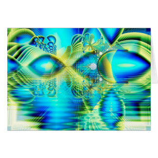 Crystal Lime Turquoise Heart of Love, Abstract Greeting Card