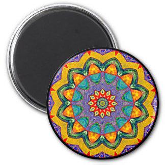 """Crystal Mandala Quilt"" 6 Cm Round Magnet"