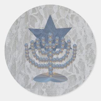 Crystal Menorah Classic Round Sticker