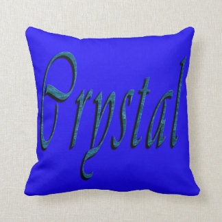 Crystal, Name, Logo, Blue Throw Cushion