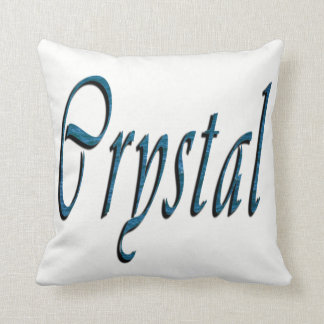 Crystal, Name, Logo, White Throw Cushion