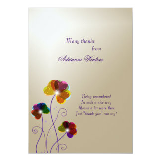 Crystal Pansies Thank You Notecards 13 Cm X 18 Cm Invitation Card