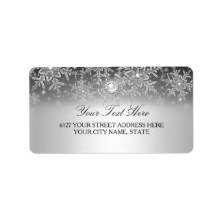 Crystal Pearl Snowflake Silver Address Label