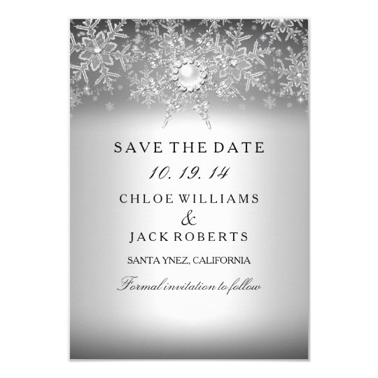 Crystal Pearl Snowflake Silver Save The Date Card