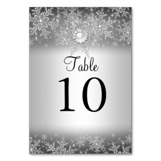 Crystal Pearl Snowflake Silver Table Number Card