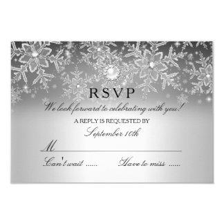 Crystal Pearl Snowflake Silver Winter RSVP 9 Cm X 13 Cm Invitation Card