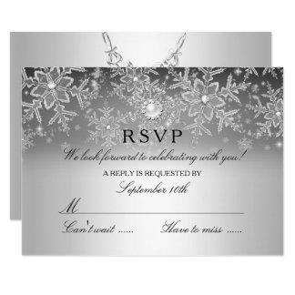 Crystal Pearl Snowflake Silver Winter RSVP Card