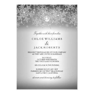 Crystal Pearl Snowflake Silver Winter Wedding 13 Cm X 18 Cm Invitation Card