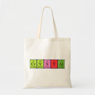 Crystal periodic table name tote bag