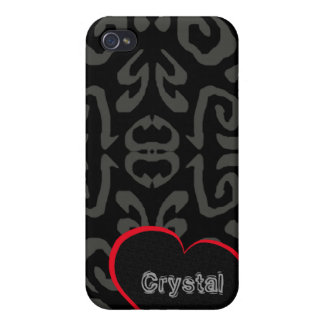 CRYSTAL Personalized Pattern Hearts Iphone 4 Case
