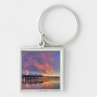 Crystal Pier Sunset Silver-Colored Square Key Ring