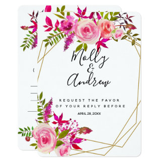 Crystal Pink Peach Roses wedding RSVP reply CARD