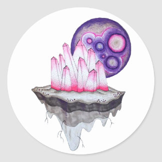 Crystal Planet Classic Round Sticker