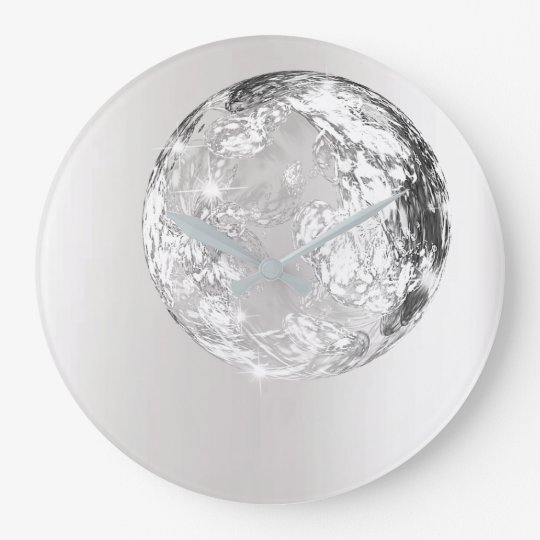 Crystal Planet Silver Grey Moon Concept Modern Large