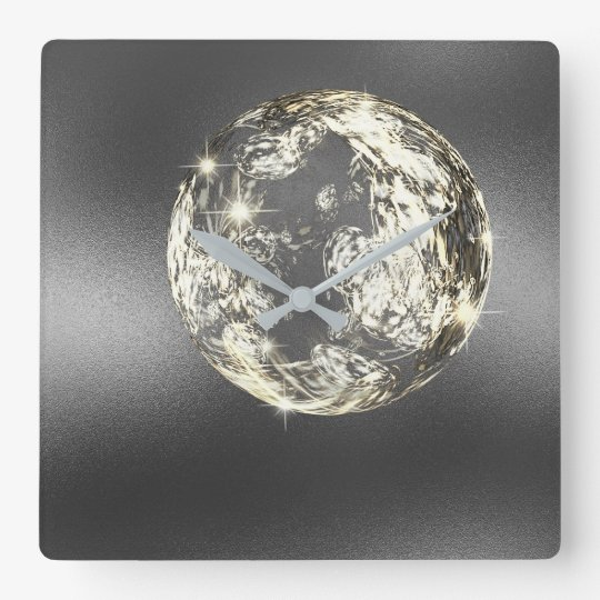 Crystal Planet Space Silver Grey Gold Ball Square