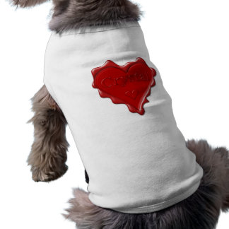Crystal. Red heart wax seal with name Crystal Sleeveless Dog Shirt