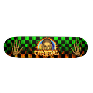 Crystal skull real fire and flames skateboard desi