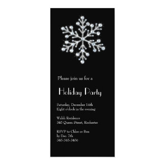Crystal Snowflake (black) 10 Cm X 24 Cm Invitation Card