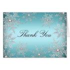Crystal Snowflake Blue Christmas Thank You Card