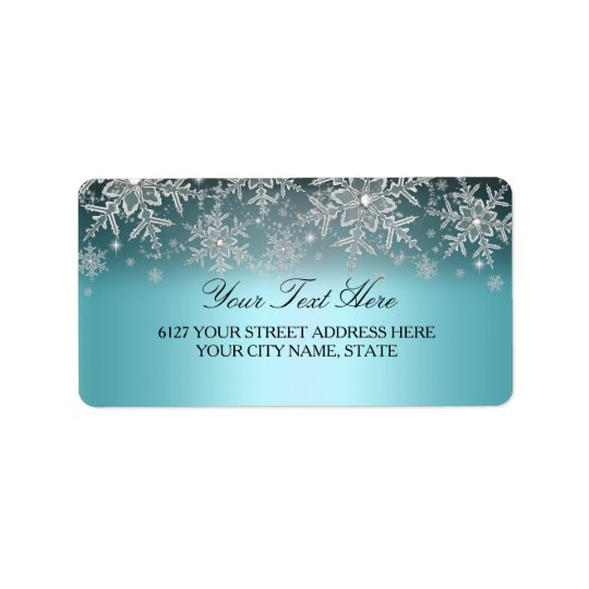 Crystal Snowflake Blue Winter Address Label