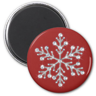 Crystal Snowflake Magnet (red)