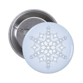 Crystal snowflake on blue 6 cm round badge