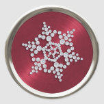 Crystal Snowflake on Red Seal Classic Round Sticker