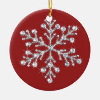 Crystal Snowflake Ornament (red)