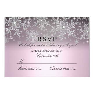 Crystal Snowflake Pink Winter RSVP Card