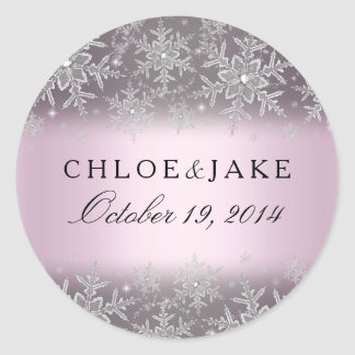 Crystal Snowflake Pink Winter Wedding Sticker
