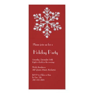 Crystal Snowflake (red) 10 Cm X 24 Cm Invitation Card