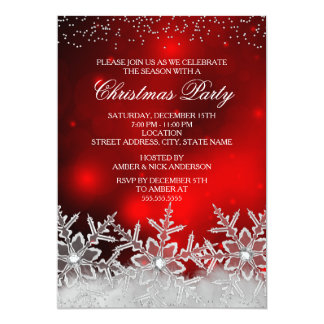 Crystal Snowflake Red Christmas Party Invite