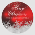 Crystal Snowflake Red Christmas Sticker