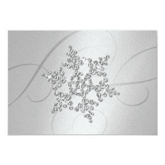 Crystal Snowflake Response Card 9 Cm X 13 Cm Invitation Card