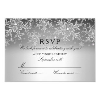 Crystal Snowflake Silver Winter RSVP 9 Cm X 13 Cm Invitation Card