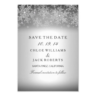 Crystal Snowflake Silver Winter Save The Date 9 Cm X 13 Cm Invitation Card
